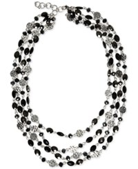 Nine West Silver Tone Multi Row Beaded Statement Necklace Black