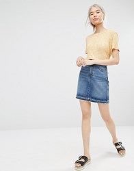 Monki Organic Cotton Denim A Line Skirt Blue