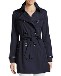Via Spiga Classic Double Breasted Trench Coat W Belted Waist Navy