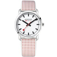Mondaine A400.30351.11Sba Unisex Simply Elegant Leather Strap Watch White Red