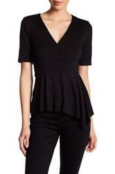 Three Dots Dacey Surplice Neck Blouse Black