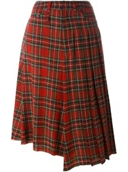 R 13 R13 Plaid Asymmetric Skirt Red