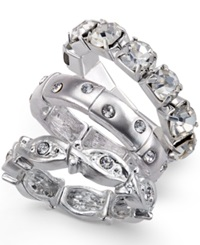 Style And Co. Silver Tone Crystal Accent Ring Set
