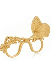Valentino Gold Plated Three Finger Butterfly Ring One Size