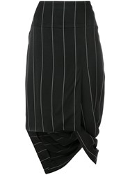 Haider Ackermann Asymmetric Striped Skirt Black