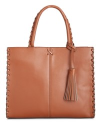 Giani Bernini Whipstitch Trim Satchel Only At Macy's Camel