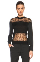 Yigal Azrouel Lace Blocked Top In Black Floral