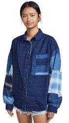 Free People Indigo Sky Button Down Indigo Combo