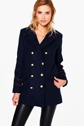 Boohoo Button Detail Military Coat Navy