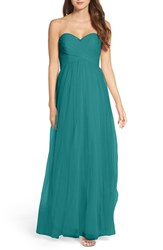 Wtoo Women's Strapless Tulle Gown Teal