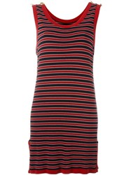 Moschino Vintage Striped Tank Dress Red