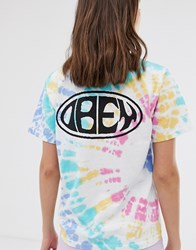 Obey Relaxed T Shirt With Chest And Back Logo In Rainbow Tie Dye White