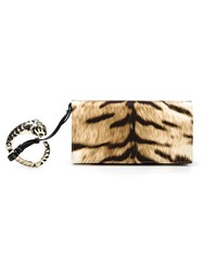 Roberto Cavalli Animal Print Bracelet Clutch Brown