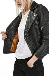 Topshop Women's 'Lightning' Leather Biker Jacket