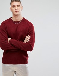Selected Homme Knitted Jumper In 100 Lambswool Syrah Red