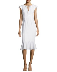 Janie Bryant For Black Halo Ruffle Sleeve Tie Neck Flutter Dress White