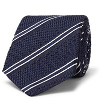 Canali 8Cm Striped Silk Tie Navy