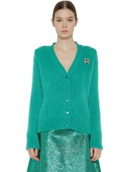 Rochas Embellished Mohair Blend Knit Cardigan Petrol