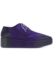 Marsell Eroded Effect Platform Oxfords Pink And Purple