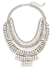 Cara Multi Row Bib Necklace Antique Silver