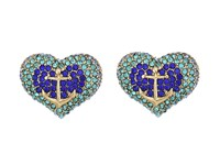 Betsey Johnson Anchor Pave Heart Stud Earrings Blue Earring