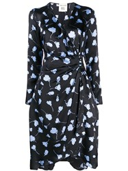 Semicouture Floral Patterned Wrap Dress Blue