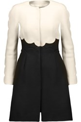 Valentino Two Tone Wool And Silk Blend Coat Black