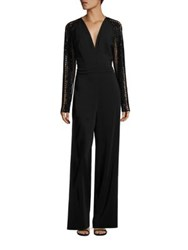 Pamella Roland Long Sleeve Embellished Jumpsuit Black