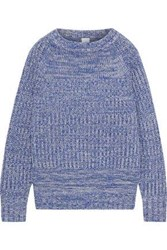 Iris And Ink Woman Terra Marled Ribbed Wool Blend Sweater Azure