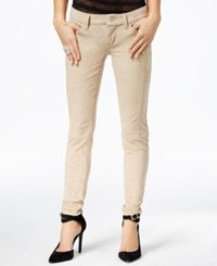 Guess Faux Suede Low Rise Power Skinny Jeans Tan