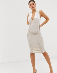 Girl In Mind Velvet Pencil Dress With Button Details Silver