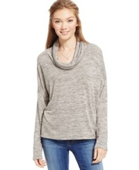One Clothing Juniors' Space Dyed Rib Knit Cowl Neck Taupe Charcoal