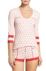 Betsey Johnson Women's Short Pajamas Distressed Hearts Rose