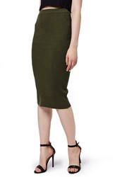 Women's Topshop Ribbed Body Con Midi Skirt