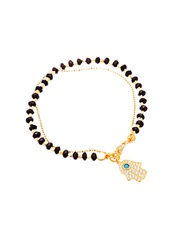 Lord And Taylor Onyx And Sterling Silver Hamsa Charm Bracelet Black