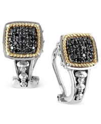 Effy Collection Balissima By Effy Black Diamond Square Earrings 1 4 Ct. T.W. In 18K Gold And Sterling Silver