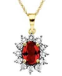 Macy's 14K Gold Necklace Ruby 1 1 8 Ct. T.W. And Diamond Accent Pendant
