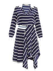 Preen Hayes Breton Stripe Silk Dress