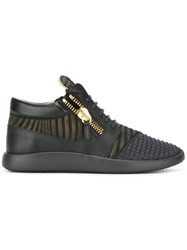 Giuseppe Zanotti Design Runner Mid Top Sneakers Black