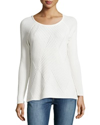 Neiman Marcus Ribbed Stitch Sweater W Back Zip Winter White