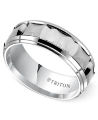 Triton Men's White Tungsten Carbide Ring 8Mm Bevel Step Comfort Fit Wedding Band