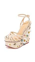 Charlotte Olympia Floral Meredith Sandal Wedges Natural