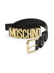 Moschino Side Logo Leather Belt Orange Black Brown