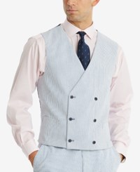 Tommy Hilfiger Men's Modern Fit Thflex Stretch Blue White Stripe Seersucker Double Breasted Suit Vest