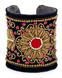 Chamak By Priya Kakkar Velvet Floral Beaded Cuff Bracelet Navy Red Gold