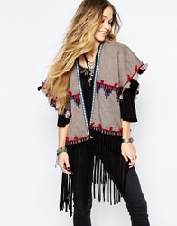 Blank Contrast Tassel Cover Up With Faux Fur Lining Grey
