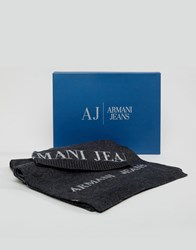 Armani Jeans Logo Gift Set Beanie And Scarf Grey