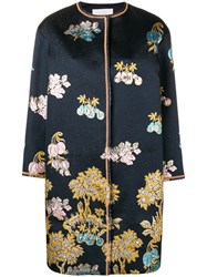 Peter Pilotto Floral Embroidered Coat Blue