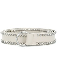 B Low The Belt Woven Buckle White