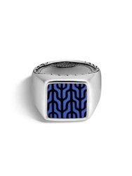 John Hardy Classic Chain Sterling Silver Signet Ring Silver Blue